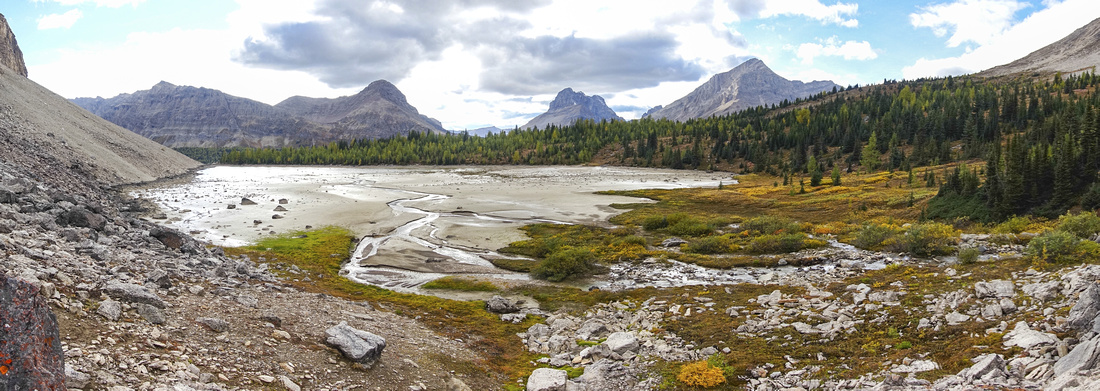 Panoramic View of Heart Lake from small Headwall leading to upper Tilted Valley looking west to Skoki Core area