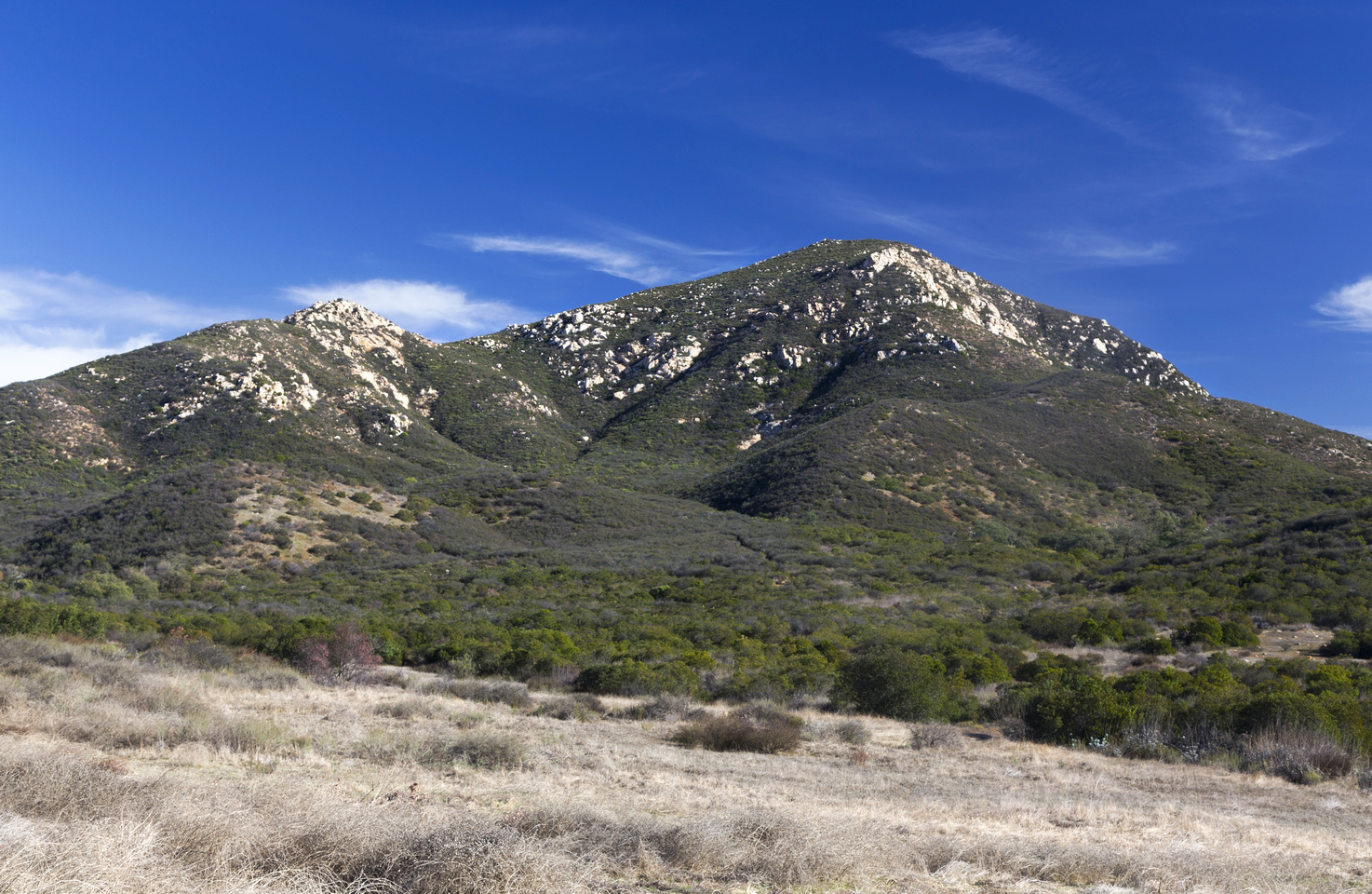 Classic View of Iron Mountain near the trailhead. Ascent follows Skyline ridge in upper part