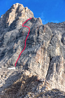 Base of roped climbing on Little Sister; red line shows ascent chimney